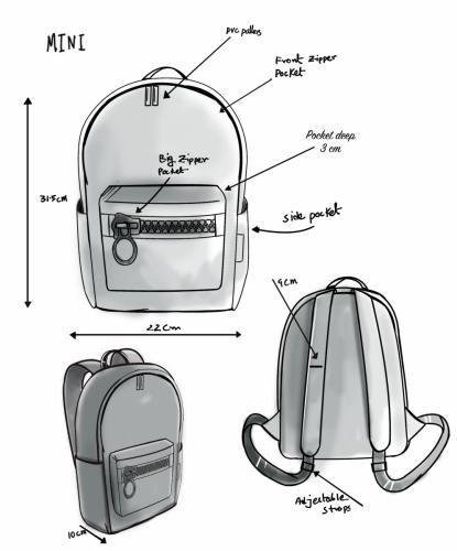 Mini design sketch - Zipper Bags