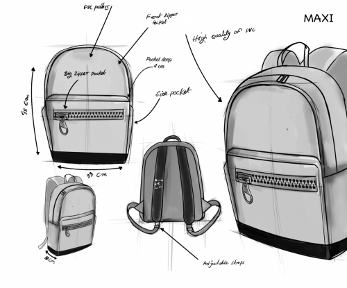Maxi design sketch - Zipper Bags