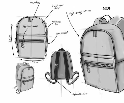 Midi design sketch -Zipper Bags